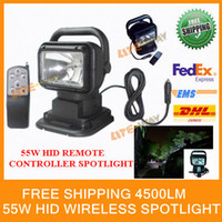 Wholesale w hid remote controller spotlight hid searchlight wire less search light for boat marine x4 off road use