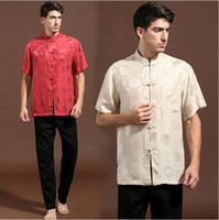 Men Tang Suit Traditonal Chinese Traditional Chinese Clothing Summer Men's Shirt 100% silk Short sleeve Suit Tops Free Shipping