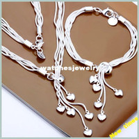 silver925 jewelry - S009 fashion silver925 charm bracelet heart necklace sets silver bridal jewelry set gift