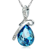 Suspenders angel - Korean jewelry colorful droplets Angel Tears crystal bow necklace alloy crystal pendant Ms