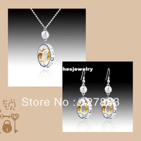 Wholesale Austria Crystal with Swarovski element K GP Double Circle Charm Drop Earrings Necklace Bride Jewelry sets for women
