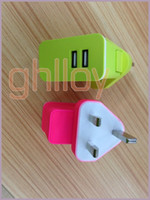 Wholesale Dual USB charger adapter world travel charger for UK US EU charging colorful UP DHL FREE