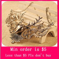Pendant Necklaces antelope horns - Min Order Mix Jewelry order Vintage Antelope Deer Head Pendant Jewelry Horn Chain Collar Necklace Xmas Gift N0301