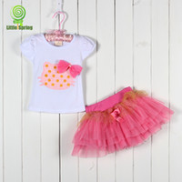 animals baby pictures - Retail Summer Baby Tutu Skirt Set Bowknot Cartoon Picture T Shirt Tutu Skirt Girl Suit Small Kid s Short Skirt Set GX296