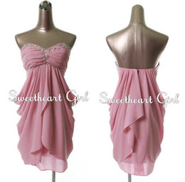 Wholesale 2014 Pink Party Dresses Mini Length High Waist Backless with Crystal Sexy Short Cocktail Dress