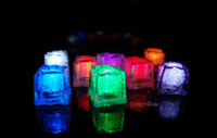 Wholesale LED Ice Cubes Flash Light Flashing Crystal Cube RAINBOW Light up LED Ice Cubes for Party Wedding Event Bars Chirstmas Multi Color