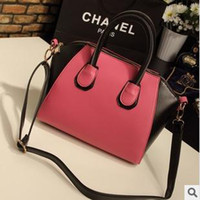 Wholesale Designer Tote Shoulder Bag Contrast Color Black Pink New Arrival B5