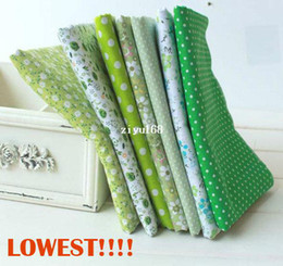 Wholesale piece cm cm Fresh Green Cotton Fabric Fat Quarter Bundle Floral Assorted Craft Tilda Fabric for Sewing W3C1