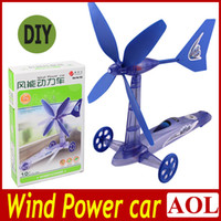 Wholesale 2pcs Kids toys Green Environmental protection DIY Wind Powered Car toy kits Move Windmill gifts for Christmas Birthday Children s day