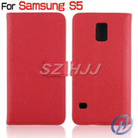 For Samsung PU leather  White Wallet Case for Samsung S5 SV i9600 Stand Flip Leather Case Litchi PU Leather Case Plastic Back Cover with Credit Card Slot