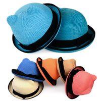 Boy Summer Visor 11 Colors Parent-child cap beautiful Bucket Caps Beach Hat Straw Hats Sun Hat Summer Hats fashion sunbonnet strawhat