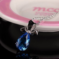 Wholesale 2014 NEW Sterling Silver Necklace Chain Fashion Gemstone Pendant Necklace