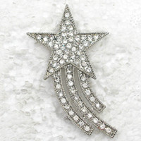 costume brooch jewelry - Clear Crystal Rhinestone Star Shaped Brooch Fashion Brooches pin wedding party Costume jewelry gift C734 A