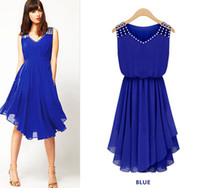 Wholesale Summer New Blue Black Korean Women Fashion Casual Slim Elegant Diamond Strap Irregular Hem Chiffon Sexy Dresses L350