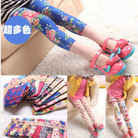 Wholesale 2014 Hot Spring New Arrival mix Colors Baby Girls Leggings Kids Flowers Printed Children Begonia Floral Tights Girl Legging Pants