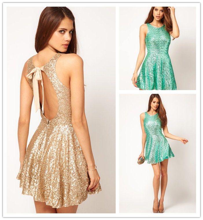 2016 Sparky Gold Open Back Dress Halter Sequin Bachelorette Party ...