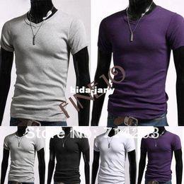 2014 Men's Stylish Casual V-Neck Short sleeve Slim cotton T-shirt Black, White, Gray, Purple Sizes S M L XL 3324