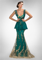 Reference Images Sweetheart Satin / Chiffon / Lace Affordable Backless Mermaid Evening Dresses with Peplum Highlights Waist Short Lace and Chiffon Cap Sleeves Golden Lace Accents Mother Gowns