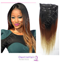 Wholesale Oxette ombre hair extensions with clips Three Tone b Ombre Clip in Hair Extensions A Peruvian Virgin Human Hair Straight