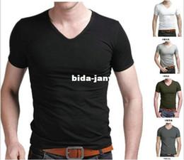 New White Black Slim Fit Cotton Stylish V-Neck Short Sleeve Casual Man Men's T Shirt Tops, Free & Drop Shipping!