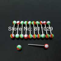 Belly Chains   Hot new wholesale 100pcs 1.6*16*5 5mm rainbow print tongue piercing acrylic ball piercing tongue barbell free shipping