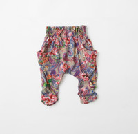 Wholesale new spring summer Children s girls babys wispy floral princess cotton bow printed Jeans Pants hot shorts Medium pants DK
