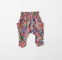 Wholesale new spring summer Children s girls babys wispy floral princess cotton bow printed Jeans amp Pants hot shorts Medium pants DK