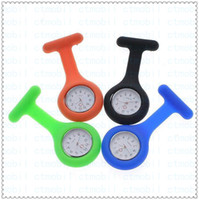 Wholesale Silicon Silicone Nurse Medical Watch Clip Pocket Watches With Pin Doctor Christmas Gifts Colorful Brooch Fob Tunic Cover Watch