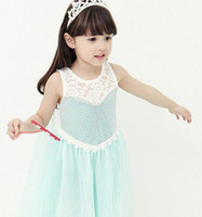TuTu Summer A-Line 2014 Summer Fashion Frozen Princess Sleeveless Dressy Children Girls Sequin Vest Gauze Dresses Kids Robe Dress With Yarn Cloak On Back I0888