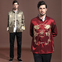 Wholesale Traditional Chinese Clothing Autumn New Men s Outerwear Spring Vintage dragons Long sleeve Tang Suit Tops
