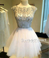 Wholesale 2015 Luxury Short Party Dresses Graduation Dresses Sheer Scoop Neck Cap Sleeve Mini Length Tulle Beaded Homecoming Gowns