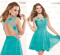 Reference Images Crew Chiffon Hot Sexy Aqua Blue Homecoming Dresses Lace Sheer Illusion Crew Chiffon Neck Backless Handmade Flowers Mini Short Prom Cocktail Gowns TE90369