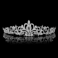 Wholesale High Quality Tiara Crown Victorian Wedding Bridal Prom Pageant Silver Rhinestone Crystal Headband Hairband Jewelry
