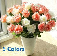 Wholesale HOT Rose Wedding Decorative Flowers Simulation Silk Artificial Flowers Home Decorate Flowers Party Decoration Flowers White Red Green Pink