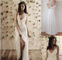 Cheap Sexy 2014 Spaghetti Straps Long Backless Bohemian Beach Wedding Dress Floor Length A-line Boho Chiffon Summer Bridal Dresses dhyz03