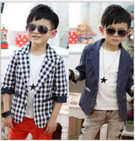Coat Boy Spring / Autumn Korean boys polka dot plaid coat children seven sleeve suit kids popuplar top autumn clothing garment 2 colors gmy