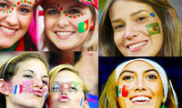 face stickers - 2014 Brazil World Cup Flag Face Paint Waterproof Transfer Tattoo Stickers National Team Logo Stickers Cheerleading Fans Face stickers