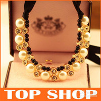 Wholesale Fashion Big Pearl Black Ribbon Necklace Imbue Diamond ZB0003