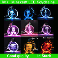 Wholesale Minecraft Keychain Minecraft pendant Creeper Keychain Crystal LED Light Pendant Keychain Gift box Good Quality in stock