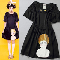 Wholesale 2014 New Arrival Women s Peter Pan Collar Short Sleeves Appliques Character Sequined Fashion Runway Dresses