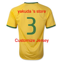 Brazil Thiago Silva 3 Home Soccer Jersey, 2014 World Cup New ...