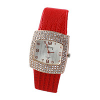 Wholesale New Fashion Designer Black White Red Leather Watchband Rhinestone Decoration Analog Quartz Wrist Watch For Women