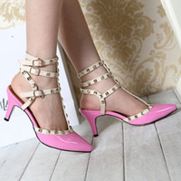 Wholesale Fashion Studded Leather Pointed Stiletto high Heels With Slim Strap up rhinestone Sandals wedges jelly Shoes clothes women
