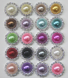 Free Shipping Wholesale 100pcs lot Mixed Color 21mm Flat Back Round Rhinestone Peal Button For Hair Flower Wedding Invitation