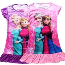 Wholesale In Stock Hot Sale summer girls dresses Frozen Princess patterns children nightdress Cartoon Cotton kids pajamas dress sleepwear