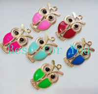 Charms Traditional Charm Animals 60pcs Mixed Colors Rose Golden Plated Enamel Owl Charms Pendants for Jewelry Making DIY Floating Locket Charm Handmade 6styles