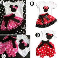 Girl Spring / Autumn Short Girl's 2pcs Suits = Tshirt+Pants(Skirt) 4 Desigs 5 Sizes 1-6Y New Outfits Sets Outwear Minnie Mouse