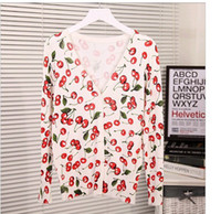 Wholesale casual fit all thin loose style women s sweater cherry printed big v neck cotton sweaters colors c033