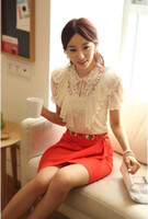 Polyester Women Lace Wholesale New Fashion Hot Sale S M L XL XXL Elegant Summer Women White Ruffle And Beading Short Sleeve Lace Tops Blouses