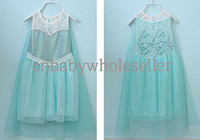 Wholesale Hot Selling Frozen Princess Dresses Blue Polyester Elsa Party Dresses New Fashion Frozen Dresses Ready Stock GD40514